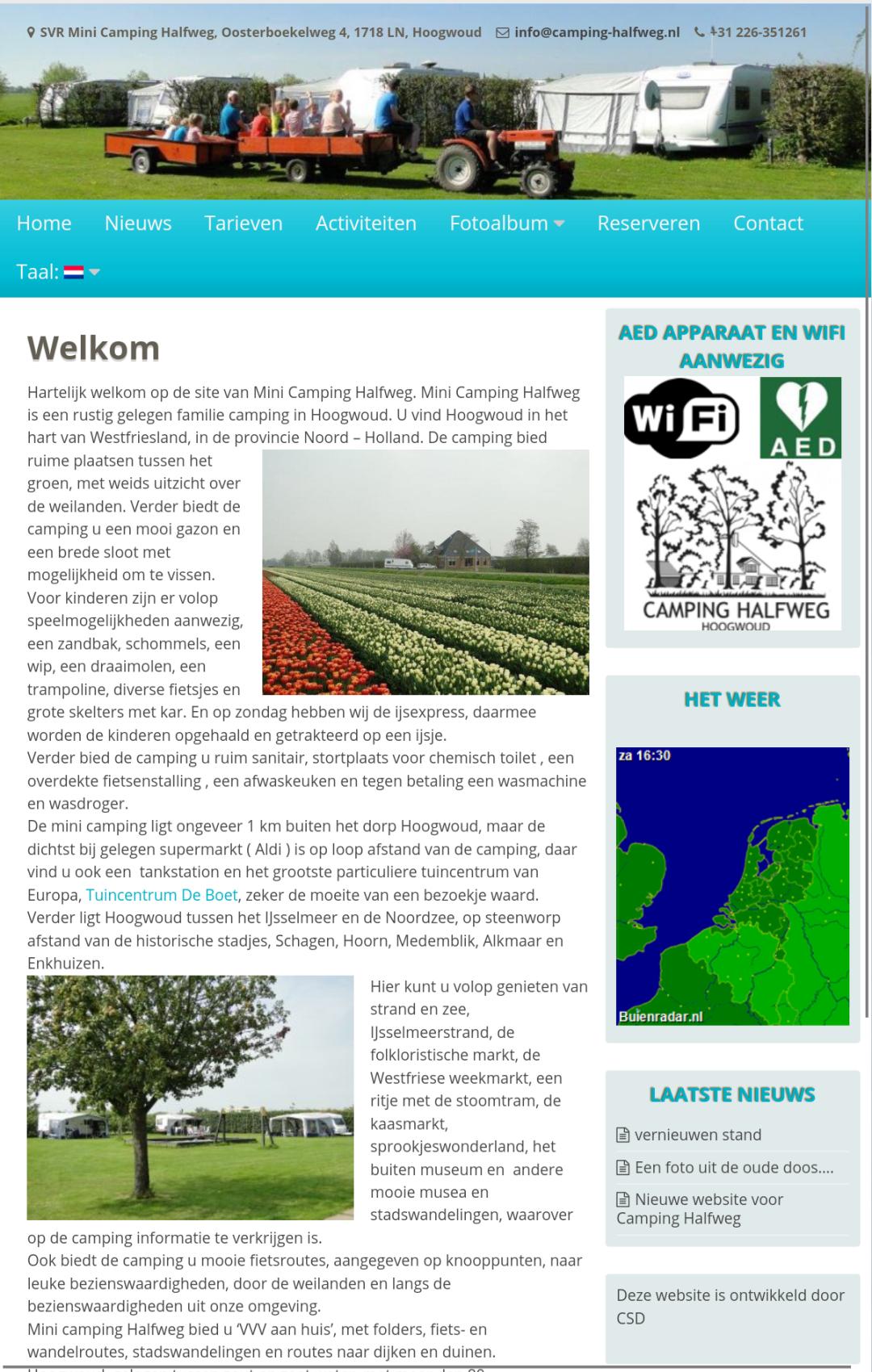 Website voor Camping Halfweg door CSD